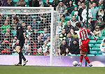 Fraser Forster shouts at his defenders as Cillian Sheridan rolls the ball into the net to open the scoring for Kilmarnock