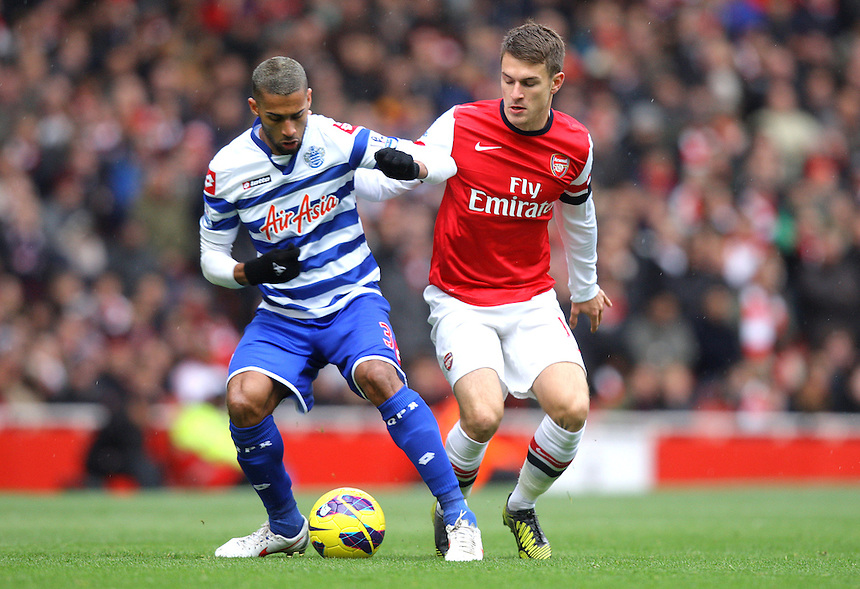 Queens Park Rangers' Armand Traore and Arsenal's Aaron Ramsey ..Football - Barclays Premiership - Arsenal v Queens Park Rangers - Sturday 27th October 2012 - Emirates Stadium - London..