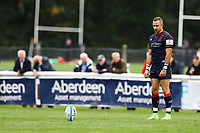 Craig Holland of London Scottish lines up the kick during the Greene King IPA Championship match between London Scottish Football Club and Doncaster Knights at Richmond Athletic Ground, Richmond, United Kingdom on 30 September 2017. Photo by Jason Brown / PRiME Media Images.