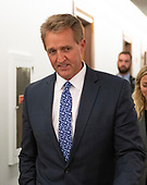 United States Senator Jeff Flake (Republican of Arizona) walks in the hallway during a break in the testimony before the United States Senate Committee on the Judiciary as Judge Brett Kavanaugh attempts to refute the testimony of Dr. Christine Blasey Ford on his nomination to be Associate Justice of the US Supreme Court to replace the retiring Justice Anthony Kennedy on Capitol Hill in Washington, DC on Thursday, September 27, 2018.<br /> Credit: Ron Sachs / CNP<br /> (RESTRICTION: NO New York or New Jersey Newspapers or newspapers within a 75 mile radius of New York City)