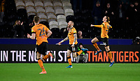 Hull City's Marcus Maddison, centre, celebrates scoring his side's second goal with team-mates Callum Elder, left, and Jackson Irvine<br /> <br /> Photographer Chris Vaughan/CameraSport<br /> <br /> The EFL Sky Bet Championship - Hull City v Swansea City -  Friday 14th February 2020 - KCOM Stadium - Hull<br /> <br /> World Copyright © 2020 CameraSport. All rights reserved. 43 Linden Ave. Countesthorpe. Leicester. England. LE8 5PG - Tel: +44 (0) 116 277 4147 - admin@camerasport.com - www.camerasport.com