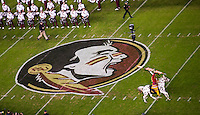 TALLAHASSEE, FLA. 11/26/16-Florida State University mascot Osceola rides Renegade by the Marching Chiefs at the start of the game against the University of Florida at Doak Campbell Stadium in Tallahassee.<br /> <br /> COLIN HACKLEY PHOTO