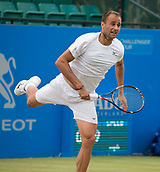 June 15th 2017, Nottingham, England; ATP Aegon Nottingham Open Tennis Tournament day 6;  Marius Copil of Roumania serving in his match against Reilly Opelka of USA