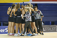 JOHANNESBURG, SOUTH AFRICA - JANUARY 25:  The Silver Ferns huddle  during the Netball Quad Series netball match between Spar Proteas and Silver Ferns at the Ellis Park Arena in Johannesburg. Mandatory Photo Credit: ©Reg Caldecott/Michael Bradley Photography