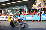 Emanuel Buchmann (GER) Bora-Hansgrohe during Stage 1 of the La Vuelta 2018, an individual time trial of 8km running around Malaga city centre, Spain. 25th August 2018.<br /> Picture: Ann Clarke | Cyclefile<br /> <br /> <br /> All photos usage must carry mandatory copyright credit (© Cyclefile | Ann Clarke)