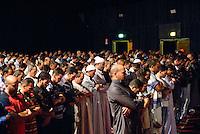 - Milano, tendone teatro Ciak, la comunità islamica di viale Jenner riunita per la preghiera serale del primo giorno di Ramadan...- Milan, the last prayer of the first day of Ramadan.