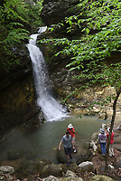 NWA Democrat-Gazette/FLIP PUTTHOFF <br /> Hikers visit Eden Falls at Lost Valley on May 3 2019. The waterfall is at the end of a 1.1-mile trail through Lost Valley near the Buffalo National River west of Ponca. Lost Valley reopened in May after being closed for improvements to the entrance and along the trail.