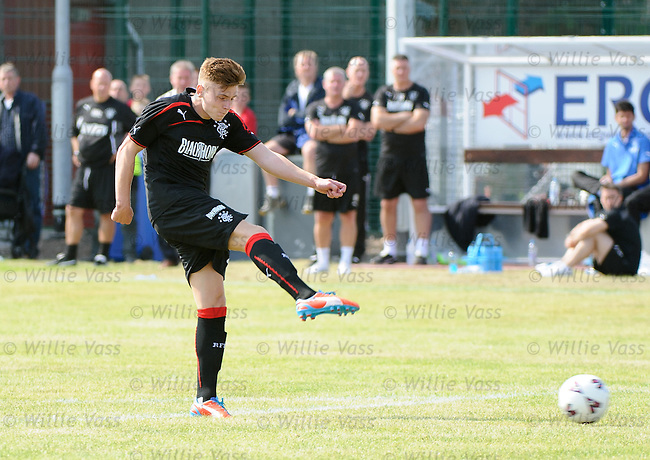 Lewis Macleod rattles in the second goal for Rangers