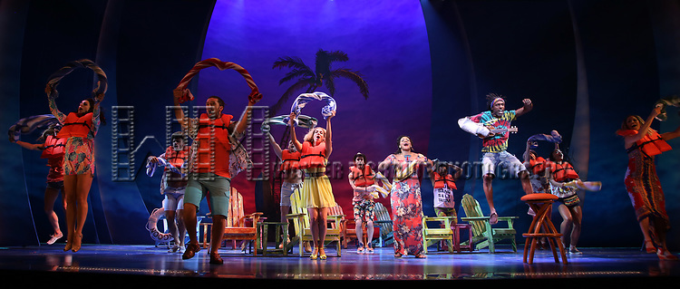 Rema Webb and Andre Ward with cast during the Press Sneak Peak for the Jimmy Buffett  Broadway Musical 'Escape to Margaritaville' on February 15, 2018 at the Marquis Theatre in New York City.