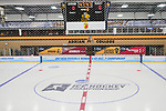 ADRIAN, MI - MARCH 18: An overview of the ice rink before the Division III Women's Ice Hockey Championship held at Arrington Ice Arena on March 19, 2017 in Adrian, Michigan. Plattsburgh State defeated Adrian 4-3 in overtime to repeat as national champions for the fourth consecutive year. (Photo by Tony Ding/NCAA Photos via Getty Images)