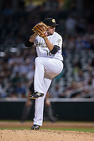 Charlotte Knights relief pitcher Chris Beck (16) in action against the Syracuse Chiefs at BB&T BallPark on June 1, 2016 in Charlotte, North Carolina.  The Knights defeated the Chiefs 5-3.  (Brian Westerholt/Four Seam Images)
