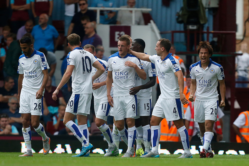 Leicester City's Shinji Okazaki celebrates his goal<br /> <br /> Photographer Kieran Galvin/CameraSport<br /> <br /> Football - Barclays Premiership - West Ham United v Leicester City - Saturday 15th August 2015 - Boleyn Ground - London<br /> <br /> &copy; CameraSport - 43 Linden Ave. Countesthorpe. Leicester. England. LE8 5PG - Tel: +44 (0) 116 277 4147 - admin@camerasport.com - www.camerasport.com