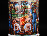 BNPS.co.uk (01202 558833)<br /> Pic: Ratisbons/BNPS<br /> <br /> Scenes of army life are painted on to the porcelain mug.<br /> <br /> An ornate beer stein that belonged to one of Donald Trump's German ancestor is being auctioned - suggesting that the famously teetotal Presidents relatives clearly liked a beer.<br /> <br /> The stein is inscribed to 'Infantryman Trump' as well as listing all the other members of his volunteer regiment in the Imperial army just prior to World War One.<br /> <br /> The Trump family was based in Kallstadt which is about 25 miles North of Landau, where the Regiment was based.
