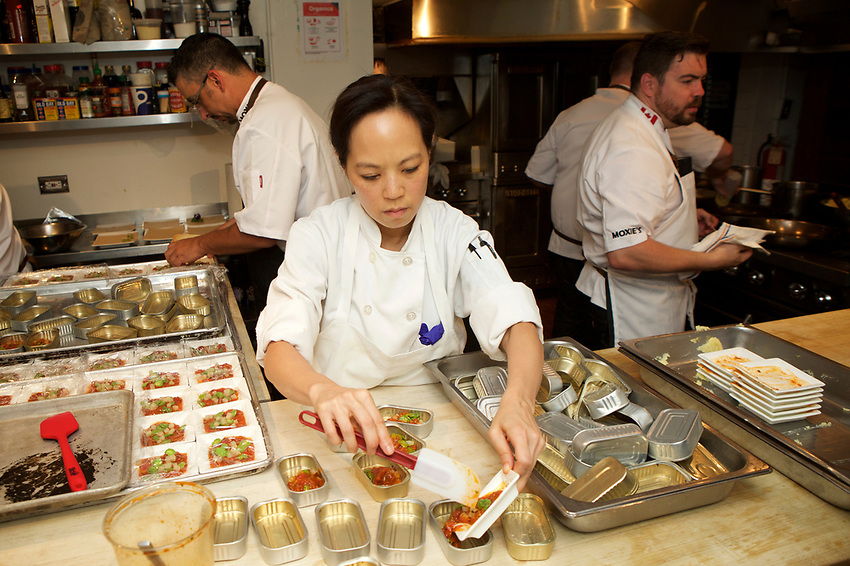 New York, NY - July 12, 2017: Chef Brandon Thordarson and his team from Moxie's Bar &amp; Grill in Alberta celebrate Canada's 150th Anniversary with a dinner at the James Beard House. <br /> <br /> <br /> Credit: Clay Williams for the James Beard Foundation.<br /> <br /> &copy; Clay Williams / http://claywilliamsphoto.com