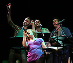"""Kennedy Caughell, Alex Gibson, Blaine Alden Krauss and Zach Adkins during the New York Musical Festival production of  """"Alive! The Zombie Musical"""" at the Alice Griffin Jewel Box Theatre on July 29, 2019 in New York City."""