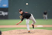 Starting pitcher Drew Rom (19) of the Delmarva Shorebirds delivers a pitch in a game against the Greenville Drive on Friday, August 2, 2019, at Fluor Field at the West End in Greenville, South Carolina. The game was suspended in the second inning and will not be made up. (Tom Priddy/Four Seam Images)