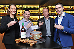 'Celtic Whiskey Bar & Larder' owner Alley Alpine and managers Maura Crowley and Paudie Sweeney welcome Kerry footballer Marc O Se, to share a specially selected whiskey to toast the Killarney bars first year in business.<br /> Photograph by Sally MacMonagle.<br />  <br /> **FREE REPRO** <br /> <br /> Press Release<br /> Celtic Whiskey Bar & Larder hosted its first birthday party on Thursday 23rd of March to officially celebrate their first anniversary on New Street, Killarney, County Kerry. Almost 100 invited guests from the business, media and hospitality community attended the celebrations, and guests enjoyed speciality whiskey & gin cocktails, delicious canapés and birthday cake! The special guest on the evening was legendary Kerry footballer, Marc O Se, who officially cut the birthday cake along with Celtic Whiskey Bar & Larder managers Maura Crowley and Paudie Sweeney and owner Ally Alpine. To commemorate the occasion, the Killarney Brewing Company created a special birthday craft beer, called Celtic Breithla which was also served during the evening. Home to over 1,000 fine whiskies from Ireland, Scotland and around the world, Celtic Whiskey Bar & Larder is most definitely a mecca for any whiskey lover, and offers an impressive range of Irish craft beers & spirits, fine wines and creative cocktails to suit any taste or preference. It also serves delicious locally sourced food throughout the day until 9.45pm. #CelticWhiskeyBar. www.celticwhiskeybar.com<br /> <br /> Further formation Orla Diffily -<br /> email upfrontgroup@gmail.com