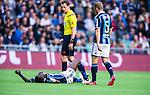 Stockholm 2014-04-27 Fotboll Allsvenskan Djurg&aring;rdens IF - IF Brommapojkarna :  <br /> Djurg&aring;rdens Daniel Amartey har skadat sig under den f&ouml;rsta halvleken <br /> (Foto: Kenta J&ouml;nsson) Nyckelord:  Djurg&aring;rden DIF Tele2 Arena Brommapojkarna BP skada skadan ont sm&auml;rta injury pain