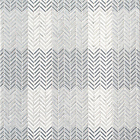 Gingham, a hand-cut tumbled mosaic, shown in Bardiglio, Celeste, Calacatta, and Thassos , is part of the Tissé™ collection for New Ravenna.