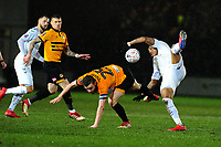 Regan Poole of Newport County battles with Britt Assombalonga of Middlesbrough during the FA Cup Fourth Round Replay match between Newport County and Middlesbrough at Rodney Parade in Newport, Wales, UK. Tuesday 05 February 2019
