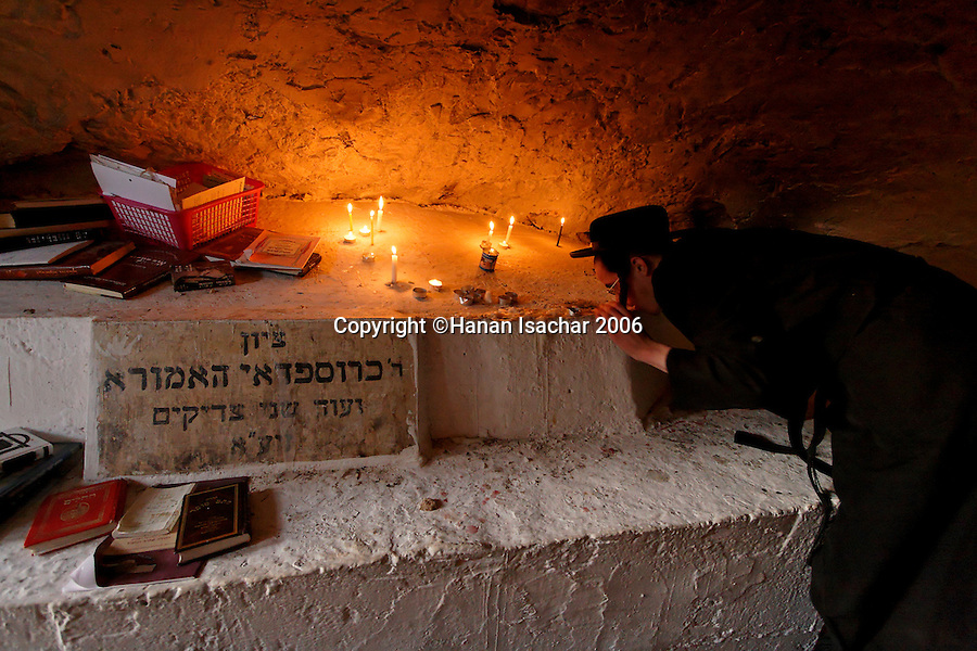 Israel, the Upper Galilee. A prayer by a Tomb of a Righteous