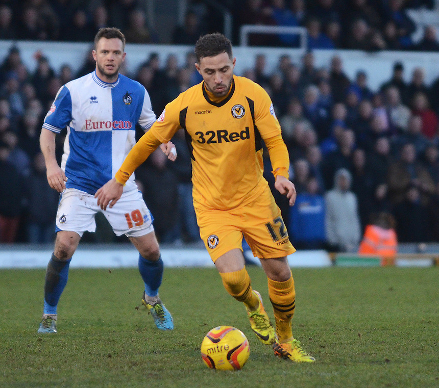 Newport County's Robbie Willmott in action during todays match  <br /> <br /> Photo by Kevin Barnes/CameraSport<br /> <br /> Football - The Football League Sky Bet League Two - Bristol Rovers v Newport County AFC - Saturday 25th January 2014 - Memorial Stadium - Bristol<br /> <br /> &copy; CameraSport - 43 Linden Ave. Countesthorpe. Leicester. England. LE8 5PG - Tel: +44 (0) 116 277 4147 - admin@camerasport.com - www.camerasport.com