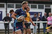 Charlie Ingall of London Scottish celebrates after he scores a try during the Greene King IPA Championship match between London Scottish Football Club and Ealing Trailfinders at Richmond Athletic Ground, Richmond, United Kingdom on 8 September 2018. Photo by David Horn.