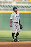 Columbus Clippers shortstop Francisco Lindor (12) on defense against the Charlotte Knights at BB&T BallPark on May 27, 2015 in Charlotte, North Carolina.  The Clippers defeated the Knights 9-3.  (Brian Westerholt/Four Seam Images)