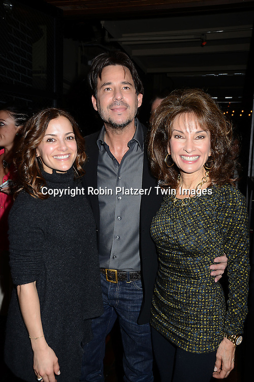 """Rebecca Budig, Ricky Paull Goldin and Susan Lucci   attend the Ricky Paull Goldin premiere party and fundraiser for his new HGTV show """"Spontaneous Construction"""" which will air on February 15, 2013. The party was on February 10, 2013 at Guy's American Kitchen in New York City."""