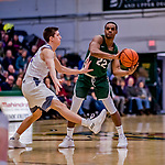 19 January 2019: Binghamton University Bearcat Guard Everson Davis, a Senior from St. Kitts, in second half Men's Basketball action against the University of Vermont Catamounts at Patrick Gymnasium in Burlington, Vermont. The Bearcats fell to the Catamounts 78-50 in America East conference play. Mandatory Credit: Ed Wolfstein Photo *** RAW (NEF) Image File Available ***
