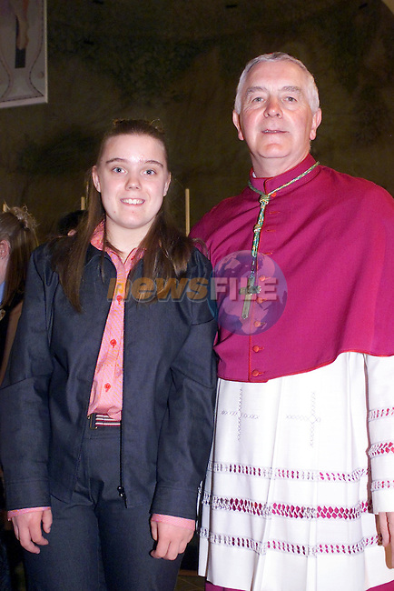 Grainne O'Gorman with Bishop    after confirmation in the Lourdes Hospital...Picture Fran Caffrey Newsfile...This Picture is sent to you by:..Newsfile Ltd.The View, Millmount Abbey, Drogheda, Co Louth, Ireland..Tel: +353419871240.Fax: +353419871260.GSM: +353862500958.ISDN: +353419871010.email: pictures@newsfile.ie.www.newsfile.ie