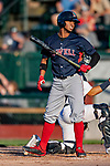 24 August 2019: Lowell Spinners shortstop Antoni Flores in action against the Vermont Lake Monsters at Centennial Field in Burlington, Vermont. The Spinners rallied in the 9th inning to overcome a 2-1 deficit and defeat the Vermont Lake Monsters 3-2 in NY Penn League play. Mandatory Credit: Ed Wolfstein Photo *** RAW (NEF) Image File Available ***