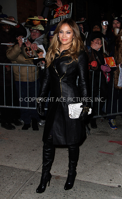 WWW.ACEPIXS.COM....January 22 2013, New York City....Actress and singer Jennifer Lopez made an appearance at the Jon Stewart show on January 22 2013 in New York City......By Line: Zelig Shaul/ACE Pictures......ACE Pictures, Inc...tel: 646 769 0430..Email: info@acepixs.com..www.acepixs.com