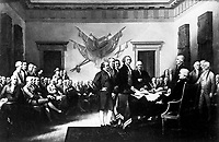 The Declaration of Independence.  1776. Copy of painting by John Trumbull, 1817-18. (George Washington Bicentennial Commission)<br />Exact Date Shot Unknown<br />NARA FILE #:  148-GW-662<br />WAR & CONFLICT #:  20