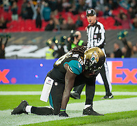 09.11.2014.  London, England.  NFL International Series. Jacksonville Jaguars versus Dallas Cowboys. Jaguars' Denard Robinson (#16) celebrates his touch down.