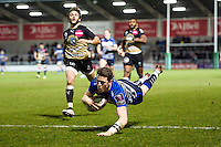 Sam James of Sale Sharks dives for the try-line. European Rugby Challenge Cup quarter final, between Sale Sharks and Montpellier on April 8, 2016 at the AJ Bell Stadium in Manchester, England. Photo by: Patrick Khachfe / JMP