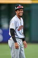 Jupiter Hammerheads outfielder Yefri Perez (12) warms up before a game against the Bradenton Marauders on April 17, 2015 at McKechnie Field in Bradenton, Florida.  Bradenton defeated Jupiter 11-6.  (Mike Janes/Four Seam Images)