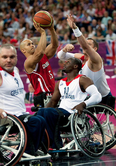 LONDON, ENGLAND 09/06/12: David Eng competes in the Men's Wheelchair Basketball semi-final CAN vs. GBR at the London 2012 Paralympic Games at the North Greenwich Arena (Photo by: Wheelchair Basketball Canada/Canadian Paralympic Committee)