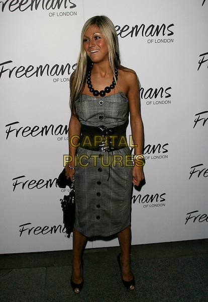 NIKKI GRAHAME - BIG BROTHER.Ashlee Simpson's birthday party at the Embassy Club, London, UK..October 11th, 2006 .Ref: AH.full length grey gray tweed dress black belt beaded necklace.www.capitalpictures.com.sales@capitalpictures.com.©Adam Houghton/Capital Pictures.