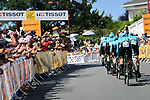 Astana Pro Team in action during Stage 3 of the 2018 Tour de France a Team Time Trial running 35.5km from Cholet to Cholet (35,5km, France. 9th July 2018. <br /> Picture: ASO/Pauline Ballet | Cyclefile<br /> All photos usage must carry mandatory copyright credit (&copy; Cyclefile | ASO/Pauline Ballet)