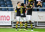 Solna 2015-07-26 Fotboll Allsvenskan AIK - IF Elfsborg :  <br /> AIK:s Henok Goitom firar sitt 4-0 m&aring;l med Stefan Ishizaki och Ebenezer Ofori under matchen mellan AIK och IF Elfsborg <br /> (Foto: Kenta J&ouml;nsson) Nyckelord:  AIK Gnaget Friends Arena Allsvenskan Elfsborg IFE jubel gl&auml;dje lycka glad happy