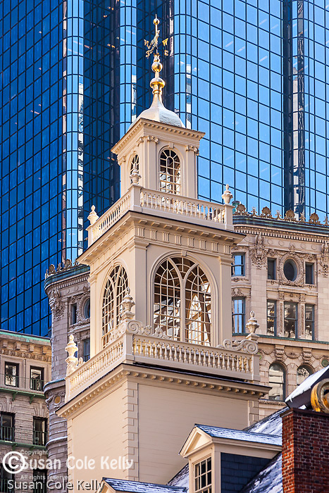 The cupola of the Old State House and the Financial District towers, Boston, MA, USA