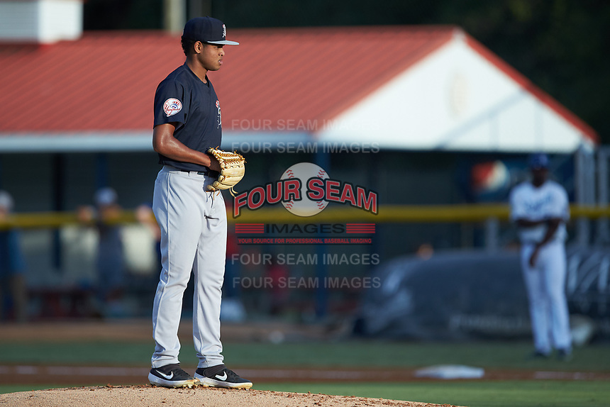 Pulaski Yankees starting pitcher Randy Vasquez (47) looks to his catcher for the sign against the Burlington Royals at Burlington Athletic Stadium on August 25, 2019 in Burlington, North Carolina. The Yankees defeated the Royals 3-0. (Brian Westerholt/Four Seam Images)
