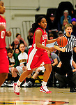 26 January 2010: University of Hartford Hawks' guard Ilicia Mathis, a Sophomore from Hamden, CT, in action against the University of Vermont Catamounts at Patrick Gymnasium in Burlington, Vermont. The Hawks defeated the Lady Cats 38-36 in a closely matched America East contest. Mandatory Credit: Ed Wolfstein Photo
