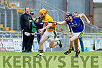 Robert Collins Kilmoyley in action against Brendan Brosnan Lixnaw in the Kerry County Senior Hurling championship Final between Kilmoyley and Lixnaw at Austin Stack Park on Sunday.