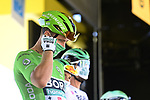 Green Jersey Peter Sagan (SVK) Bora-Hansgrohe at sign on before the start of Stage 10 of Tour de France 2020, running 168.5km from Ile d'Oléron to Ile de Ré, France. 8th September 2020.<br /> Picture: Bora-Hansgrohe/BettiniPhoto | Cyclefile<br /> All photos usage must carry mandatory copyright credit (© Cyclefile | Bora-Hansgrohe/BettiniPhoto)