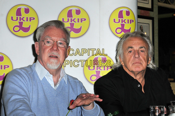 Earl of Bradford, Richard Bridgeman & Peter Stringfellow.Peter Stringfellow backs the UK Independence Party (UKIP) candidate Earl of Bradford, Richard Bridgeman, in a forthcoming Westminster Council by-election, Porters Restaurant, London, England..April 23rd, 2012.half length blue shirt glasses goatee facial hair hand black.CAP/BF.©Bob Fidgeon/Capital Pictures.