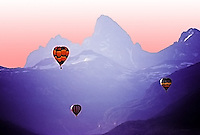 Artistically enhanced, Hot air balloon races, Grand Tetons, Teton Valley, Idaho