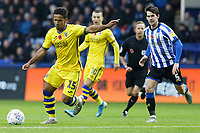 Wayne Routledge of Swansea City (L) in action during the Sky Bet Championship match between Sheffield Wednesday and Swansea City at Hillsborough Stadium, Sheffield, England, UK. Saturday 09 November 2019