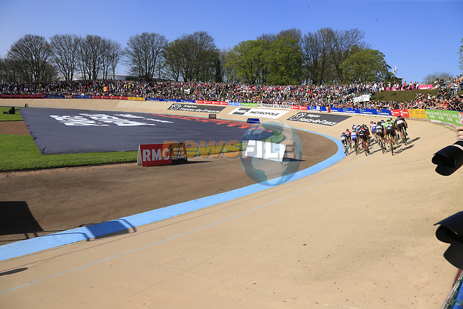 The 2nd group of riders enter the old Velodrome in Roubaix at the  end of the 115th edition of the Paris-Roubaix 2017 race running 257km from Compiegne to Roubaix, France. 9th April 2017.<br /> Picture: Eoin Clarke | Cyclefile<br /> <br /> <br /> All photos usage must carry mandatory copyright credit (&copy; Cyclefile | Eoin Clarke)